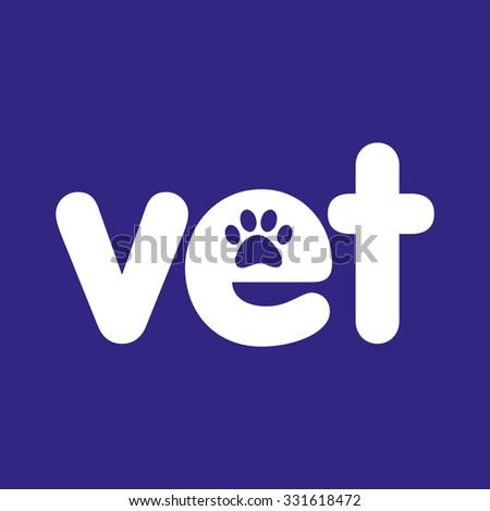 Vet Paw Print Logo White On Blue Vector