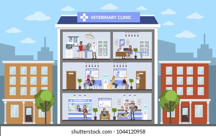 Vetclinic city building with patients and owners.