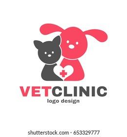 Vetclinic logo design template. Vet clinic, veterinarian, veterinary concept. Vector flat modern style illustration cartoon icon. Dog, cat, heart. Isolated on white background
