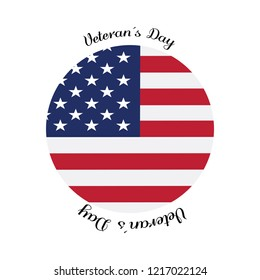 Veteran day label with the flag of United States. Vector illustration design