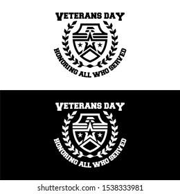Veteran days flat badge logo. Army emblem with eagle illustration