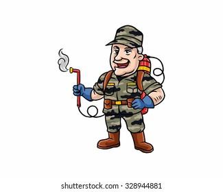 veteran old man army soldier cartoon character image