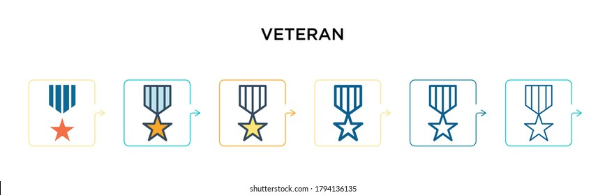 Veteran vector icon in 6 different modern styles. Black, two colored veteran icons designed in filled, outline, line and stroke style. Vector illustration can be used for web, mobile, ui