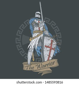 veteran warrior sword and shield illustration vector