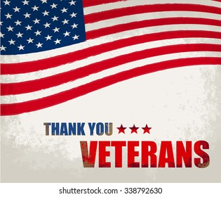 Veterans Day .America flag design. Typographic design.Thank you Veterans.