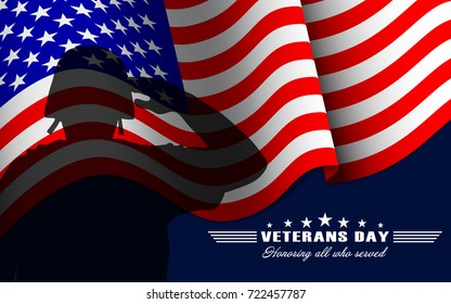 Veterans Day background with saluting soldier, US national flag and lettering. Template for Veterans Day. Vector illustration.
