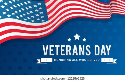 Veterans Day Background Vector illustration, Honoring all who served. Typography with USA flag waving on blue background.