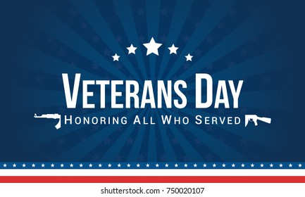 Veterans Day background Vector illustration, Honoring all who served.