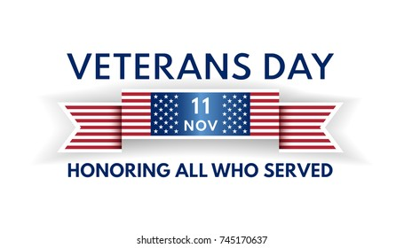 Veterans Day banner from ribbon and US flag