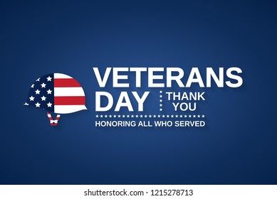 Veterans Day card with helmet as USA flag. Honoring all who served. Vector illustration.