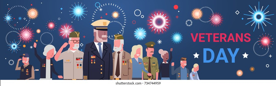 Veterans Day Celebration National American Holiday Banner With Group Of Retired Military People Vector Illustration