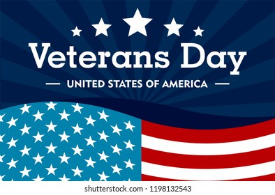 Veterans day concept background. Flat illustration of veterans day vector concept background for web design