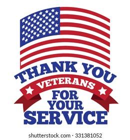 Veterans Day flag thanks design EPS 10 vector royalty free stock illustration for greeting card, ad, promotion, poster, flier, blog, article, social media, marketing
