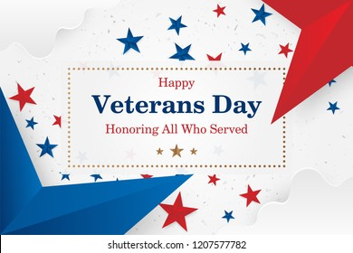 Veterans Day. Greeting card with font inscription on a starry background. National American holiday event. Flat vector illustration EPS10.