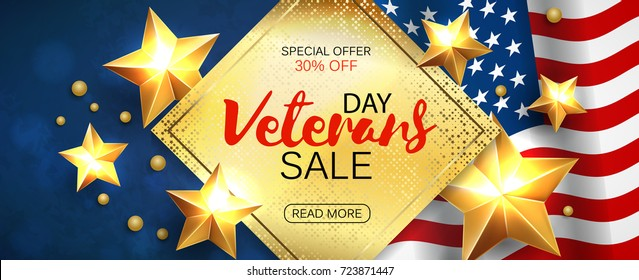 Veterans Day greeting card horizontal banner with golden stars anf flag. Vector