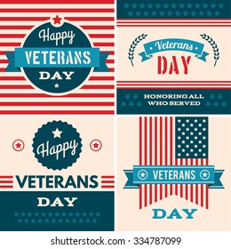 Veterans day greeting card with typographic design in vintage style. Set of various  graphics objects and labels, emblems, symbols, icons and badges. Vector templates and design elements.