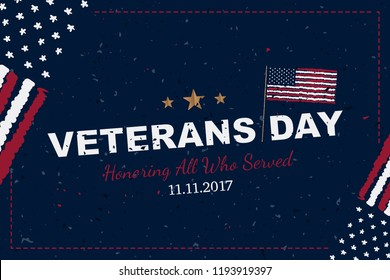 Veterans Day. Greeting card with USA flag on background with texture. National American holiday event. Flat vector illustration EPS10.