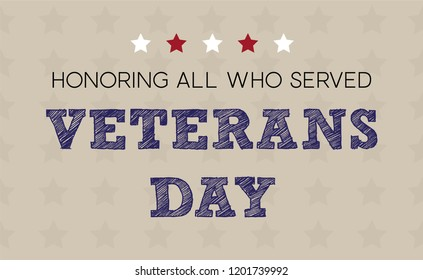 Veterans Day greeting card in vintage style. Honoring all who served. Vector concept for web design, card, flyer or cover.