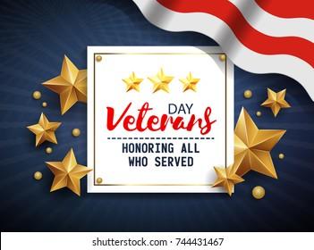 Veterans day greeting illustration. Honoring all who served. November 11. Vector