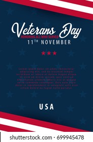 Veterans day. Honoring all who served. November 11
