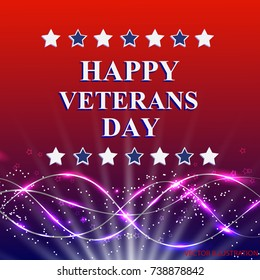 Veterans Day. Honoring all who served. Holiday USA on background with stars. Bright vector illustration.