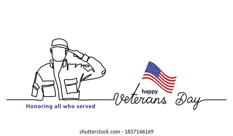 Veterans day minimalist vector banner, poster, background with american soldier outline. One continuous line drawing with lettering happy Veterans day.