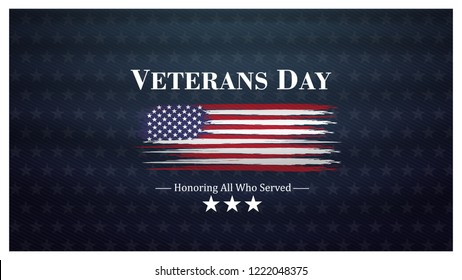 veterans day, November 11, honoring all who served, posters, modern design vector illustration
