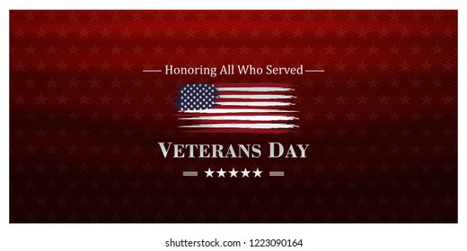 veterans day, November 11,united states flag and honoring all who served, posters, modern design vector illustration