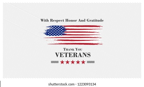 veterans day, November 11,united states flag, with respect honor and gratitude posters, modern design vector illustration