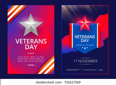 Veterans day poster or cover design template. Vector illustration