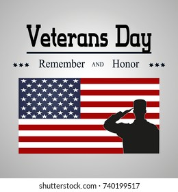 Veterans day poster. US military armed forces soldier in silhouette saluting. Vector illustration on the theme: veterans day, 11th November, patriotism, holiday, war, peace, America, USA, parade