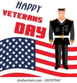 Veterans day poster. USA flag. Cartoon style