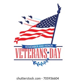 Veterans day poster with USA flag