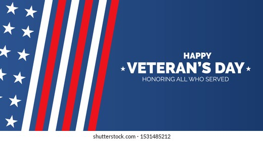 Veteran's day poster.Honoring all who served. Veteran's day illustration with american flag
