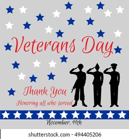 Veterans Day. Silhouettes of three soldiers  of different arms. Vector illustration for greeting card, ad, promotion, poster, flier, article, social media, marketing