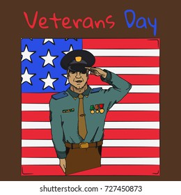 Veterans Day. USA army soldier saluting. Hand drawn vector stock illustration