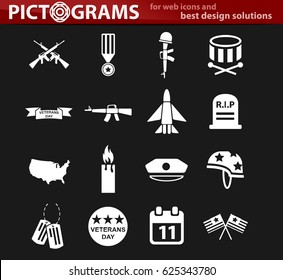 veterans day vector icons for user interface design