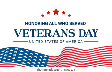 Veterans Day Vector illustration, Honoring all who served, USA flag waving on white background.