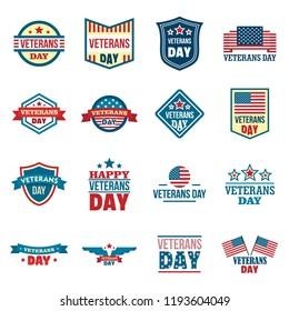 Veterans logo set. Flat set of veterans vector logo for web design