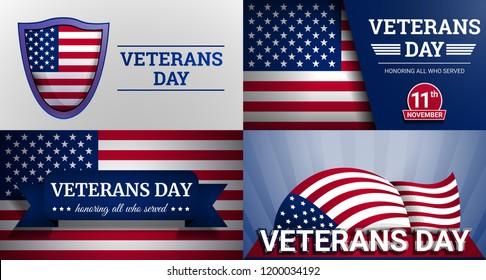 Veterans military day banner set. Cartoon illustration of veterans military day vector banner set for web design