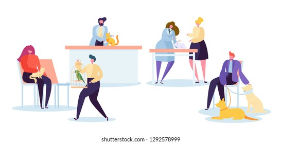 Veterinarian Clinic Character Wait at Reception. Vet Doctor Treat Sick Cat and Dog at Hospital Lab Room. Medical Treatment Veterinary Table. Pet Healthcare Concept Flat Cartoon Vector Illustration