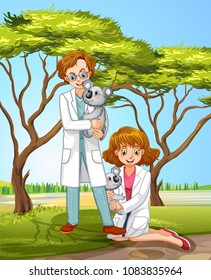 Veterinarian and Coala in Forest illustration
