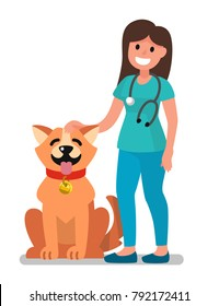 Veterinarian doctor examining dog. Happy veterinarian doctor and animal. Vector