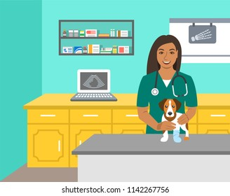 Veterinarian doctor holds dog on examination table in vet clinic. Vector cartoon illustration. Pets health care background. Domestic animals treatment concept. Veterinary professional consultation