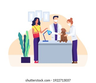 Veterinarian examining a dog. Doctor in uniform holding pet, Veterinary clinic. Healthcare service or medical for domestic animals. Veterinarian with pets, Vector illustration in a flat style