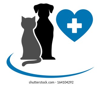 veterinarian icon with blue heart, pets and cross on white background