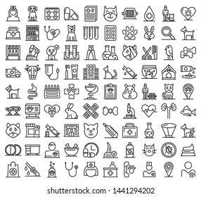 Veterinarian icons set. Outline set of veterinarian vector icons for web design isolated on white background
