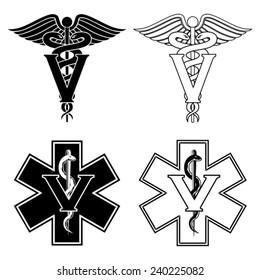 Veterinarian Medical Symbols is an illustration of two versions of a veterinarian medical symbol. At the top are two veterinarian symbols and at the bottom are two emergency veterinarian symbols.