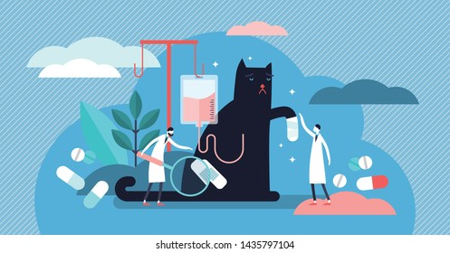 Veterinarian occupation vector illustration. Flat tiny animals health persons concept. Cats and dogs clinic care with treatment medicine and pills. Emergency help support and aid prevention service.
