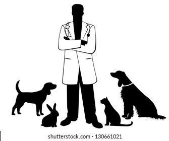 Veterinarian with pets. EPS 8 vector, no open shapes or paths. Grouped for easy editing.